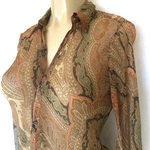 b3dc9c177a Ralph Lauren Black Label Tops - Ralph Lauren Boho Sheer Silk Paisley Shirt  Top 4